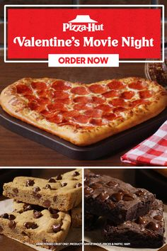 Do Valentine's date night right and order a Heart-Shaped Pizza for you and boo. And don't forget the dessert—add a cookie or brownie to your order to sweeten the deal. Available until 2/14. Valentines Movies, Valentines For Mom, Valentines Day Party, Heart Shaped Pizza, Pizza Hut, Squad Pictures, National Pizza, Cookie, Forget