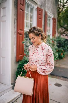 Gal Meets Glam Fall Colors In Charleston -Express top, skirt & pumps c/o, Mansur Gavriel bag