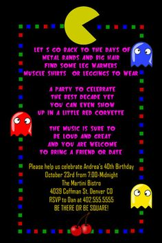 75 best plan an 80s theme birthday party images on pinterest 80s custom retro 80s themed birthday party invitations any age filmwisefo