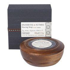 Bath House Spanish Fig & Nutmeg Shaving Soap & Wooden Bowl 100g - Shaving Soap - Shaving Prep
