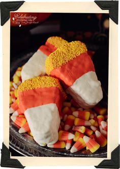 Candy Corn Rice Krispie Treats, Candy Corn recipe, Halloween Dessert recipe