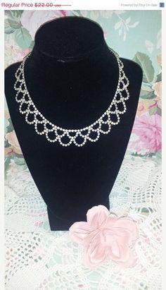 Vintage Silvertone and Clear Rhinestone Bib Necklace Rhinestone Collar Necklace Statement Necklace Prom Wedding