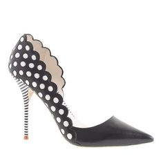 "Sophia Webster for J. Crew ""Anneka"" Pumps in black-and-white leather, featuring polka-dot print on the upper vamp, a half d'Orsay profile, a pointed toe, and a high striped stiletto heel wrapped 