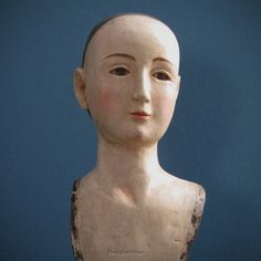 """SANTOS Doll Bust/Head on stand; 11.25"""" antique-style w/ Inlaid Eyes -Paper Mache"""