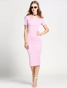 Product Description: Fashion Women Short Sleeve Knitted Striped Bodycon Side Slit Midi Dress Material: 95% Polyester and 5% Spandex, 2 Colors: White, Pink, Design: Side Slit Midi Dress, Season: Spring