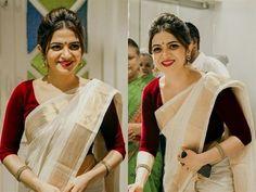 Looking for saree makeup ideas? Here are our tips of 14 simple and effortless makeup looks that can make you look gorgeous. Onam Saree, Kasavu Saree, Bengali Saree, Kerala Saree Blouse Designs, Beauty Tips In Hindi, Saree Hairstyles, Simple Sarees, White Saree, Saree Trends