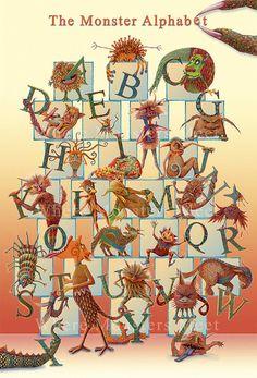 Alphabet Poster  Monster Poster  Letter by wheremonstersmeet, $30.00