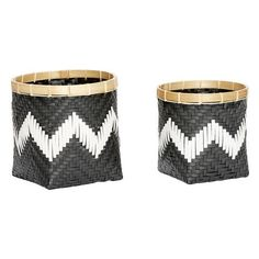 Black + White Chevron Rattan Baskets: Two rattan baskets with a striking monochrome + chevron design and natural bamboo rim.   Style the large as a planter with a rich green leafy plant to hit the key Greenery trend of 2017. Use the medium in your dining area to hold cutlery and textiles.