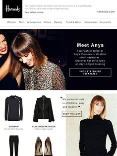 Anya Ziourova's Wardrobe - Harrods Engagement Emails, Day To Night Dresses, Harrods, Email Marketing, Coupon Codes, Dressing, Spaces, Digital, Beauty