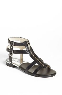 MICHAEL Michael Kors 'Kennedy' Flat Leather Gladiator Sandal available at #Nordstrom in luggage