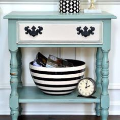 Teal and black/white cabinet