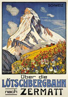 The Matterhorn in Zermatt Vintage Swiss Travel Poster Old Poster, Retro Poster, Poster Ads, Poster City, Zermatt, Ski Vintage, Vintage Ski Posters, Swiss Travel, Tourism Poster