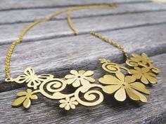Floral Butterfly Necklace, Brass Necklace, Natural Jewelry by mypurplebasket on Etsy