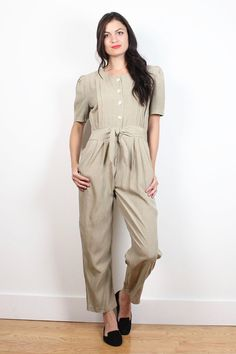 536f9f0712 Vintage 80s Jumpsuit Khaki Tan Pleated Pants Tie Belted Normcore Pantsuit  1980s Preppy Romper Playsuit Overall One Piece Jumper XS S Small M
