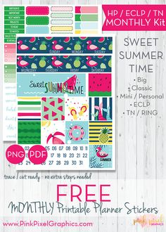 FREE Sweet Summertime Monthly planner sticker printable kit: Download your free planner print and cut. Lots of sizes to fit just about any planner. See more at www.pinkpixelgraphics.com