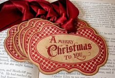 vintage christmas tags ... these would look awesome with brown paper packaging :)