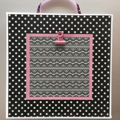White Stretched Canvas  8X8 black/pink/dots/lacey