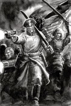 Imperial Guard - Warhammer Wiki - Space Marines, Chaos, planets, and Thule Society, Battlefleet Gothic, 40k Imperial Guard, Warhammer 40k Art, Future Soldier, Black And White Artwork, Space Marine, Paladin, Rogues
