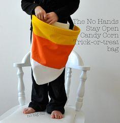 Candy Corn Inspired Halloween Treat Bag - Free Tutorial