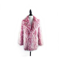 90's Bubblegum Shaggy Faux Fur Coat // DEADSTOCK // XS-S ($168) ❤ liked on Polyvore featuring outerwear, coats, vintage peacoat, vintage coat, vintage faux fur coat, purple coat and vintage pea coat