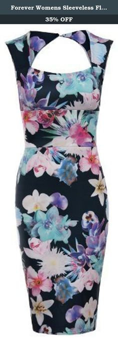 Forever Womens Sleeveless Floral Print Keyhole Sweetheart Bodycon Dress. Celebrity Kim Kardashian Inspired Dress New Womens Sleeveless Floral Print Keyhole Sweetheart Bodycon Dress, Soft & Stretchy Fabric, Design In Bodycon Style, Great For Party Wear.