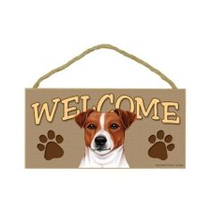Jack Russell Terrier Wood Welcome Door Sign 5''x10'' by SJT. $9.99. A perfect welcome sign to décor your home, and hang in any room to show the passion about this cute dog breed. Indoor only. Size: 5''x10'' & Made in USA