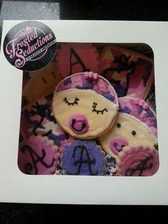 New baby girl camo sugar cookies.