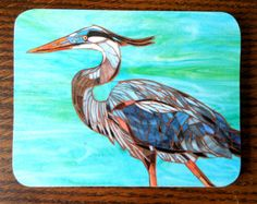 Blue Heron Mosaic Coaster  Mosaic Art  Bird by LAMosaicGifts