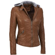 Coalition LA FauxLeather Zip Scuba w/Knit Hood featuring polyvore, fashion, clothing, outerwear, jackets, coat/jacket, leather jackets, brown faux leather jacket, zip jacket, vegan leather jacket, imitation leather jacket and synthetic leather jacket