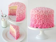 Amazing tiered pink cake with pretty rose icing