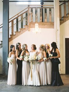 Mismatched white and black bridesmaid dresses