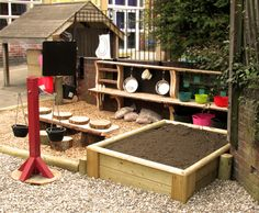 Mud Kitchen with, Balance Scales, Workstation, and Ingredients – Jac McBride – Cat playground outdoor Eyfs Outdoor Area, Outdoor Play Areas, Kids Outdoor Play, Backyard Play, Backyard For Kids, Backyard Ideas, Natural Playground, Outdoor Playground, Mud Kitchen For Kids
