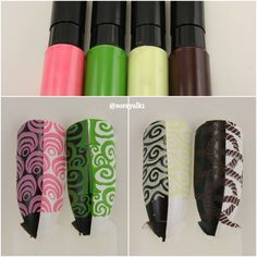 Stamping polish found on Aliexpress. #10 Light Pink, #11 Grass Green, #12 Yellow Green and #13 Brown. Stamping plates used: BM-XL115 and Delaney Marin A001.