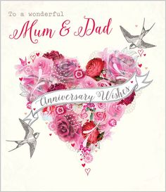 Card Ranges 7392 Mum Dad Anniversary Floral Heart Abacus Cards