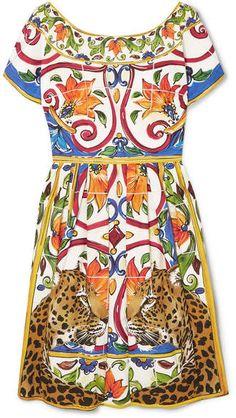 8c6f7e1babd1c Dolce   Gabbana - Maiolica Pleated Printed Cotton-poplin Dress - Yellow