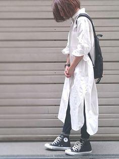 真っ白ロングシャツワンピース。 すごく気を使うけど可愛い◎