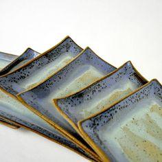 handmade geometric stoneware plates by glazedOver Pottery 2 by glazedOverPottery, via Flickr