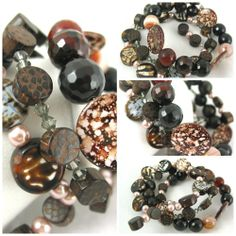 Handmade Crackle fire agate brown beaded gemstone bangle Bracelet