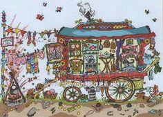 Buy Cut Thru' Gypsy Wagon Cross Stitch Kit Online at www.sewandso.co.uk