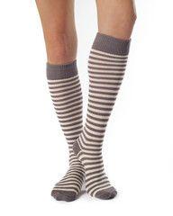Annabel - Knee High Socks Striped Grey White