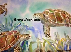 Turtles in the Grasses - Watercolor Archival Print                              by Brenda Ann