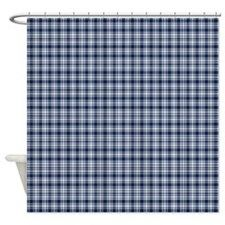 Navy Blue Plaid Shower Curtain By Designsbyharmony In 2020 Plaid Shower Curtain Blue Plaid Designer Shower Curtains