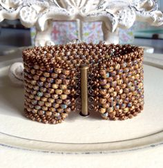 SALEPeyote Stitch Beaded Bracelet Statement by CountryChicCharms