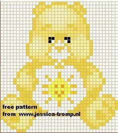 SOL Cross Stitch Baby, Cross Stitch Charts, Cross Stitch Patterns, Pixel Crochet, Crochet Chart, C2c Crochet, Cross Stitching, Cross Stitch Embroidery, Sunshine Bear