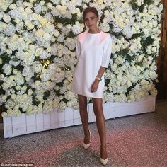 White hot: The designer wore one of her own designs from her 2015 collection, which will m...