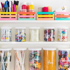 DIY Colorful Home Organization Get your home, office, craft room or classroom organized with these two simple DIY organization projects. Learn how to easily create colorful storage containers and hand lettered labeled jars without calligraphy. Home Office Organization, Craft Organization, Office Storage, Desk Organization Diy, Craft Room Storage, Diy Storage, Storage Jars, Craft Storage Containers, Storage Ideas