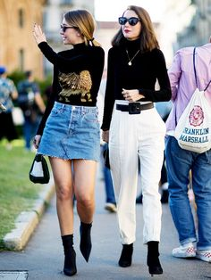 See how cool girls are transitioning a summer staple—the denim skirt—into fashion-forward outfits for fall.