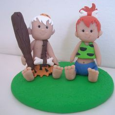 Pebbles and Bam Bam (from the Flintstones) Made from FImo polymer Clay