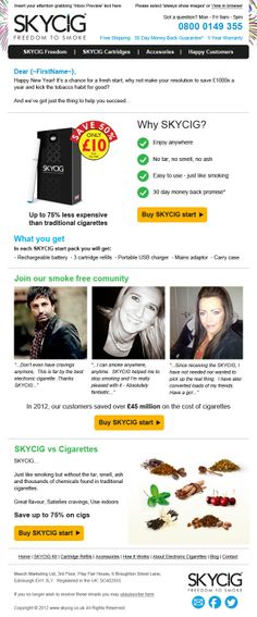 Email template designed and built for SkyCig.  Visit Pure360.com for more information.