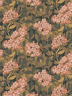 Lindsay P. Butterfield c 1896  An extremely rich and luxurious pattern of pink hydrangea and foliage. Butterfield was a prolific pattern designer selling to Liberty and Morton among others. His designs often suggest a fusion of Morris and Voysey's work.